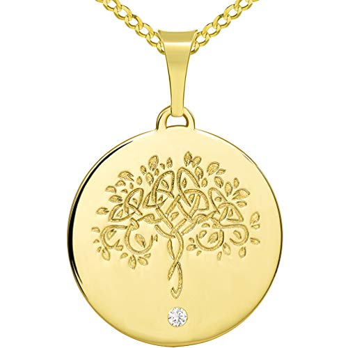 14k Solid Yellow Gold Hand Engraved Tree of Life CZ Round Medallion Pendant with Cuban Chain Necklace, 18