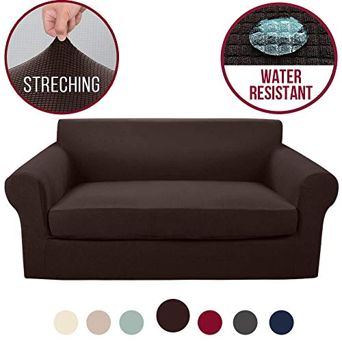 Vailge 2-Piece High Stretch Jacquard Loveseat Cover, Water Resistant Loveseat Slipcover with Separate Cushion Cover, Machine Washable Loveseat Protector for Dogs,Kids,Pets(Loveseat:Chocolate)