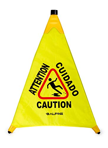 "Floor Bilingual Wet Cone - Alpine Industries 30"" Pop-Up Wet Floor Sign - Portable Three Sided Caution Cone - Slip & Fall Accident Prevention - for Commercial & Office Use"