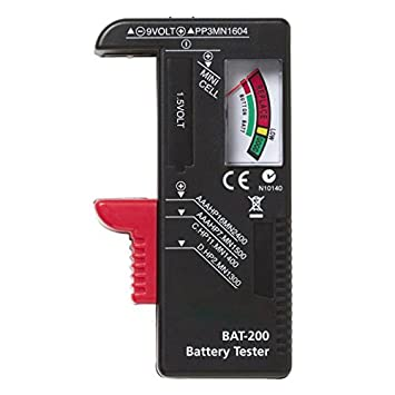 Pollyhb Battery Testers,Battery Tester, Indicator Universal Battery Cell Tester AA AAA C/D 9V Volt Button Checker (Black)