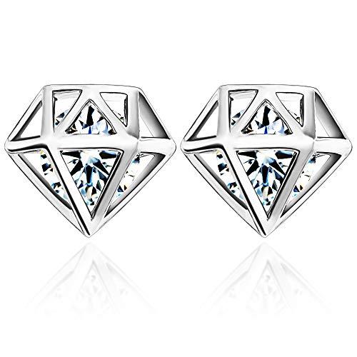 UHIBROS Stud Earrings Diamond Shaped Earring Set Ear Stud Jewelry for Girls Women Men, Silver