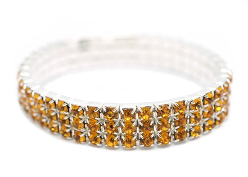 [Petite Womens Classic Silver 3 Row Orange Honey Amber Rhinestone Stretch Tennis Cuff Bracelet] (Las Vegas Showgirl Costume)