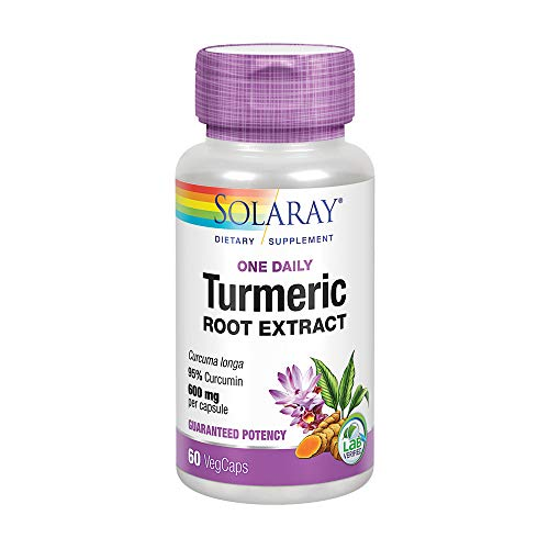 Solaray Turmeric Root Extract 600mg | One Daily | Healthy Joints, Cardiovascular System Support | Guaranteed Potency | 60 VegCaps For Sale