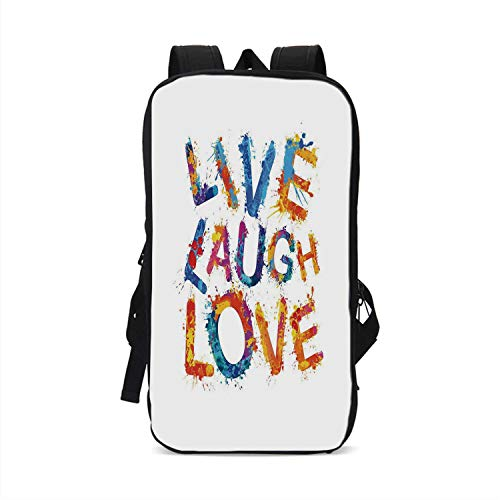 Live Laugh Love Decor Stylish Compatible with iPad Backpack,Watercolor Splash Paint Art Letters Joyous Delirious Grunge Quotation for School Office,One ()