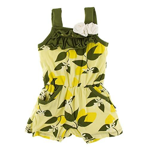 Kickee Pants Little Girls Print Flower Romper with Pockets - Lime Blossom Lemon Tree, 18-24 Months