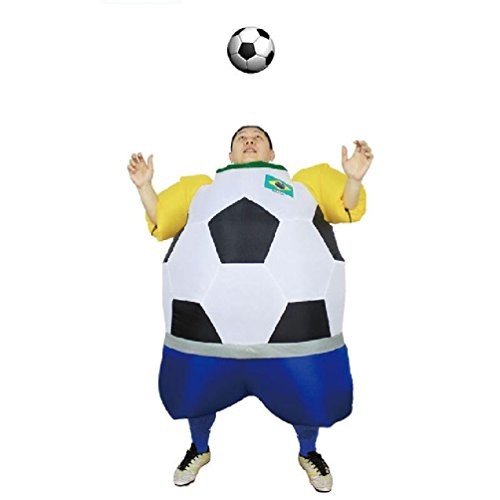 Soccer Inflatable Fat Suit Football Soccer Mascot Novelty Fancy Blow Up Dress Inflatable Ball Suit (Brazil)