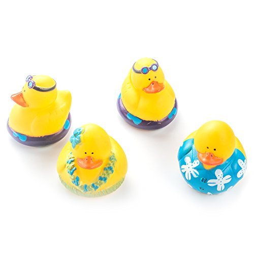Fun Central AZ975 Rubber Luau Duckies Toy - 12ct - Luau Rubber