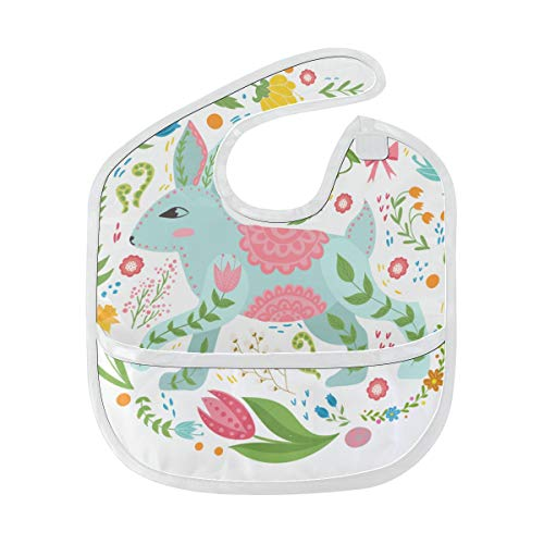 Floral Flower Rabbit Bunny Custom Soft Waterproof Stain Odor Resistant Baby Feeding Dribble Drool Bibs Burp Cloth For Infant Overall For 6-24 Months Kid Gift ()