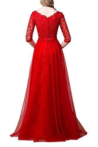 Brau Prinzess Langarm mia Abendkleider La Brautmutterkleider Spitze Linie A Promkleider Braun Abschlussballkleider 8Sw5HHqW