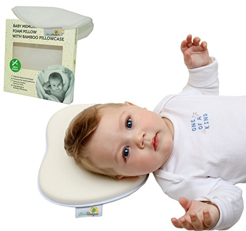 Newborn Baby Pillow Prevent Flat Head Syndrome (Plagiocephaly).Memory Foam Cushion.Baby Head Shaping Pillow &Bamboo Pillowcase. Infants Head Support.White from DeaUnique