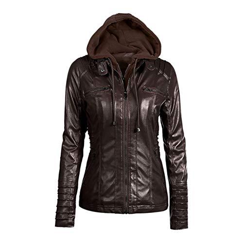 Zhuhaixmy Mujer Cuero de PU Chaqueta Capucha Desmontable - Abrigo de la Cremallera Chamarra de Moto Jacket Coat Café