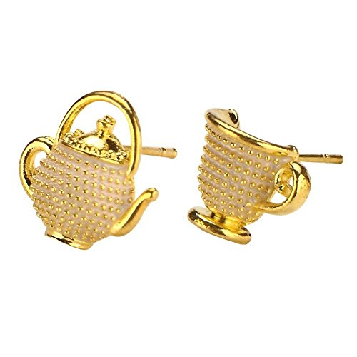 Stud Earring Teapot & Cup (Cream) Made With Enamel & Tin Alloy by JOE COOL