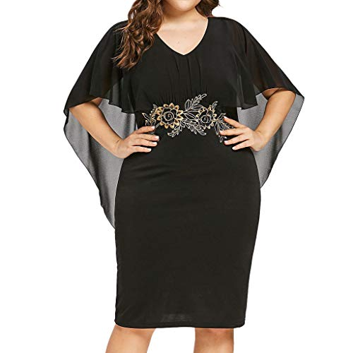 Women Dresses,Pongunsy Women Casual Plus Size Chiffon Dress Summer Loose Solid V-Neck Applique Short Sleeve Dress 2019 (XXXXXL, Black) ()