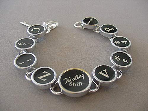 Recycled Typewriter Keys - Black Typewriter Key Bracelet Random Mixed Keys Floating Shift Key Typewriter key jewelry Recycled Jewelry
