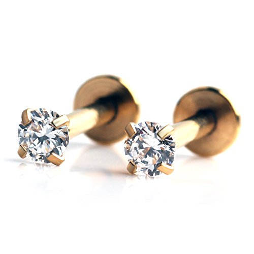 Gem Gold Plated Labret - Ruifan Gold Plated Stainless Steel 3mm Clear CZ Gem Internally Threaded Labret Monroe Lip Ring Tragus Nail Helix Earring Stud Barbell Piercing Jewelry 16G 6mm 2pcs