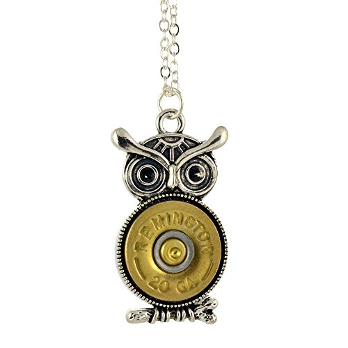 Shotgun Shell Owl Pendant Necklace, 20 Gauge Bullet Casing with Silvertone Ornate Owl Pendant, 16