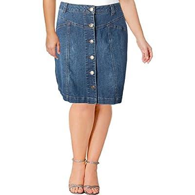 Love & Legend Womens Casual Button Front Denim Skirt