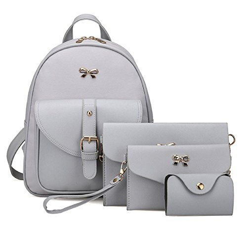 Bag Owill Sets Wallet Shoulder 4 Travel Women Card Brief Backpack Holder Style Gray Girls zzr5Aq