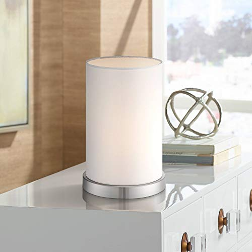 "Modern Desk Table Lamp 10 1/2"" High Silver Metal White Fabric Cylinder Shade for Bedroom Bedside Office - 360 Lighting"