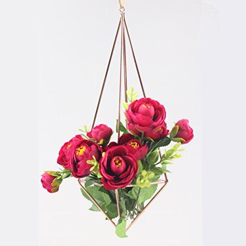 Decorative Detachable Hanging Geometric Himmeli Mobile Wreath Flower Rack Air Plant Holder 10 inches Rose Gold Slim