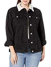 Women's Plus Size Shearling Lined Jacket with Pocket Detail