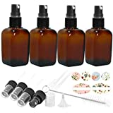 4 Pack 1.7oz 50 ml Square Amber Glass Spray Bottles with Fine Mist Sprayer & Dust Cap for Essential Oils, Perfumes…