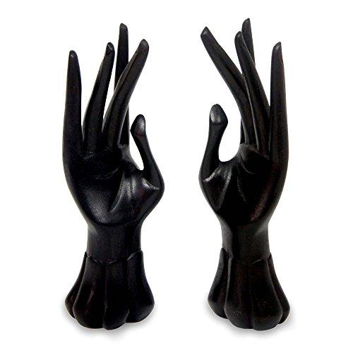 Ring Carved Designer (NOVICA Artisan Crafted Natural Jempinis Wood Ring Holder, Black, Graceful Dancer In Black' (Pair))