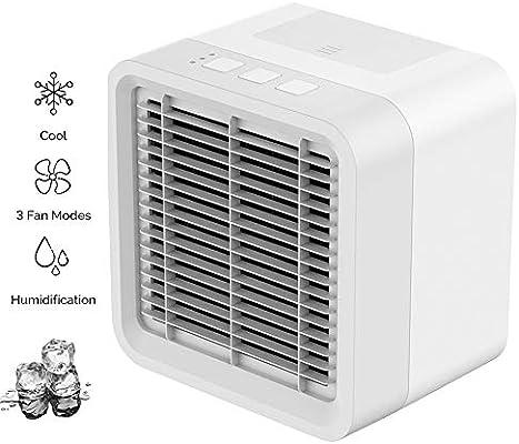 HHH Mini Aire Acondicionado Enfriador Climatizador Purificador Humidificador y Ventilador Mejorado 3 en 1 Arctic Mini y Luz Nocturna para Refrescarse Rápidamente en ...