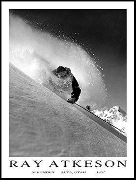 Atkeson Ski Poster of Alf Engen Skiing Powder