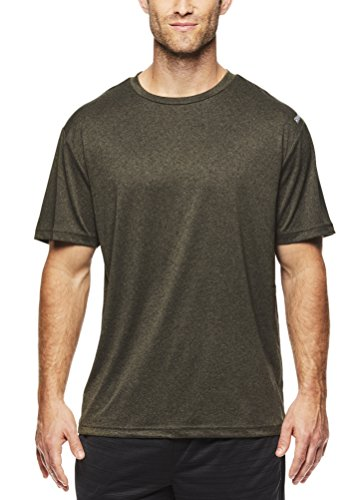 nic Crewneck Workout T-Shirt Designed With Performance Material - Army Green Heather, X-Large (Reebok Mens Tank Top)
