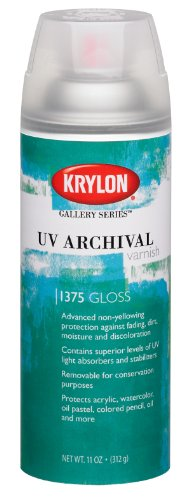 Krylon K01375000 Gallery Series UV Archival Varnish Aerosol Spray, Gloss, 11 Ounce