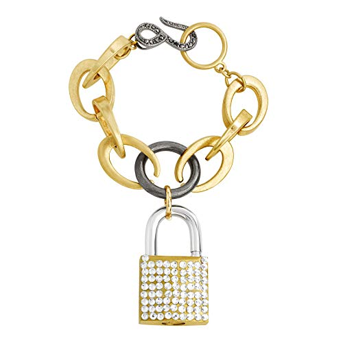 Steve Madden Women's Polished Rhinestone Lock Design Charm Link Tri-Tone Bracelet ()