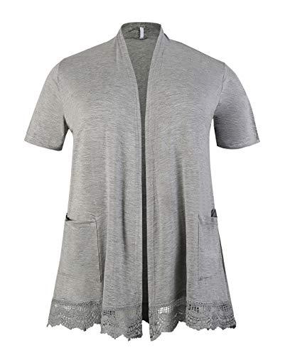 ZERDOCEAN Women's Plus Size Short Sleeve Lace Trim Lightweight Printed Drape Cardigan with Pockets Light Gray 2X