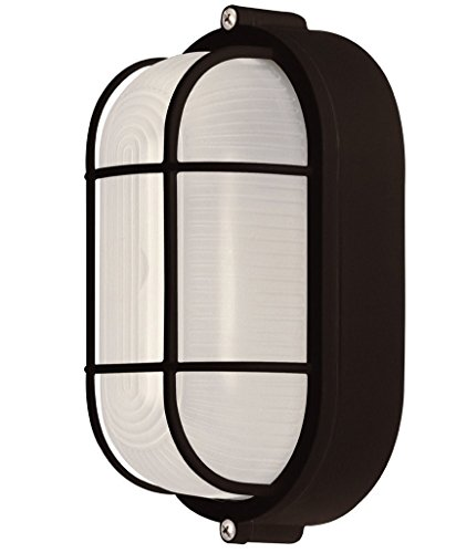 Weatherproof Bulkhead Exterior Light For Wet Locations, Black (White Fixture Globe Glass Featuring)