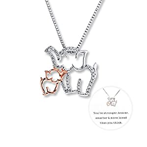 Exweup Elephant Charm Necklace for Women Mom and Baby Elephant Necklace Rose Gold and White Gold Design for Mom