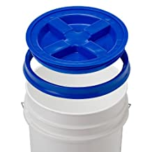 Gamma Seal Lid With 5 Gallon White Bucket - 90 Mil, BPA Free, Food Grade Plastic Pail - Gamma2 Screw Seal Tight Lid (Blue)