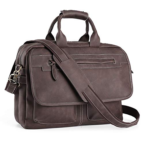 Men's Business Travel Briefcase PU Leather Handmade Messenger Bags Laptop Bag fits 15.6 inches Laptop - Bag Leather Messenger Travel