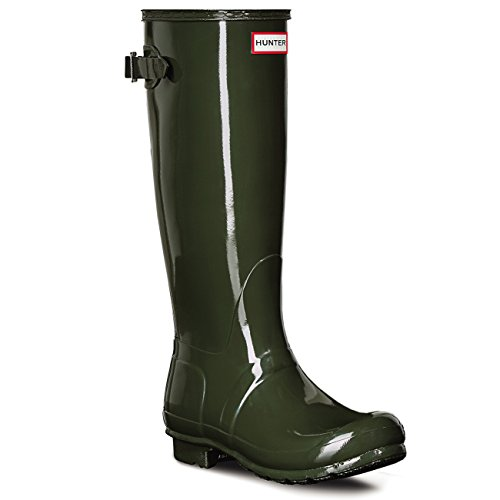 Womens Hunter Original Adjustable Back Gloss Waterproof Winter Rain Boot - Dark Olive - 6 (Womens Wide Calf Hunter Boots)