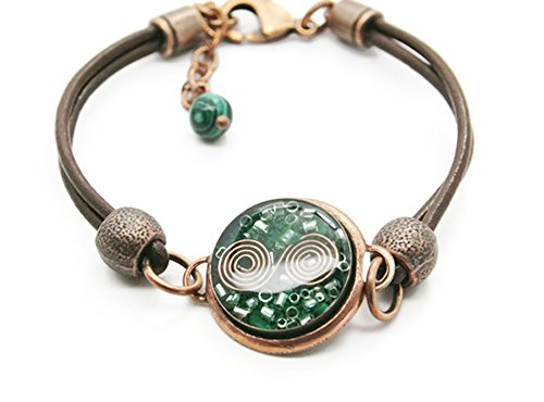 Orgone Energy Leather Friendship Bracelet in Antique Copper Finish with Malachite
