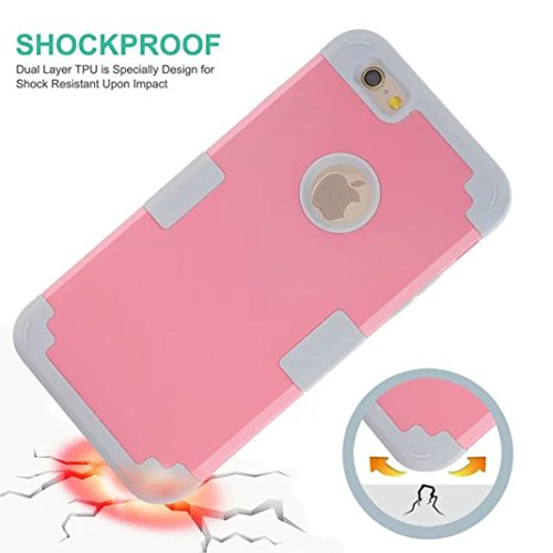 IPhone 5S / SE Case - Litastore Romper-Resistente Madera Teléfono Case Iphone 5S / SE PC+TPU tres-en-uno Paquete Resistente a Prueba de Choques Cubre Caja de Madera - Cielo azul Pink & Gris
