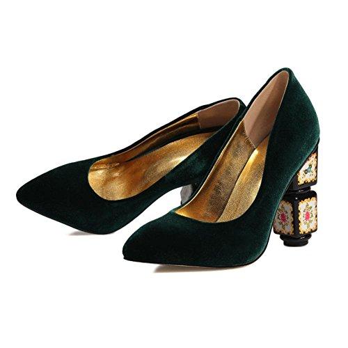Auf 5 rot Zehe Unterhose Pumps Klobig Schuhe EUR 5 Hoch Damen Gericht Green Wildleder Hacke Arbeit Spitz UK 38 BEqw44U