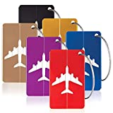HIHUHEN 6 Pack Metal Travel Luggage Tags Strings Card, Upgrade Suitcase Travel ID Bag(6 x Luggage Tags)