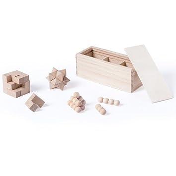 DISOK Lote de 10 Set de 3 Juegos de Habilidad de Madera en Caja de Regalo. Juegos de Habilidad Originales, niños, cumpleaños Infantiles. Detalles para ...