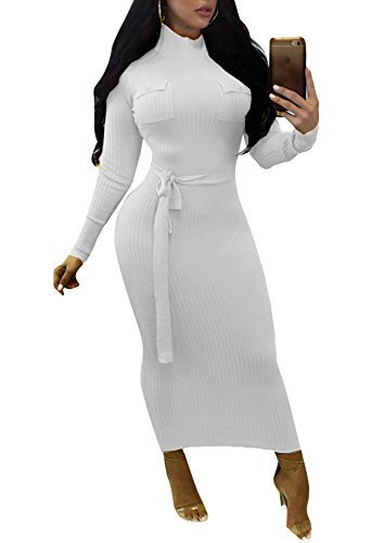 Remelon Womens Casual High Neck Stretchy Comfy Ribbed Tie Waist Bandage Fitted Sweater Midi Dress White M