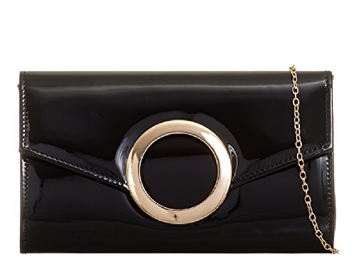 Bag Party Bridal Handbag KZ2032 Ladies EAMUK Black Women's Patent Cocktail Clutch Evening Envelope wppBIq