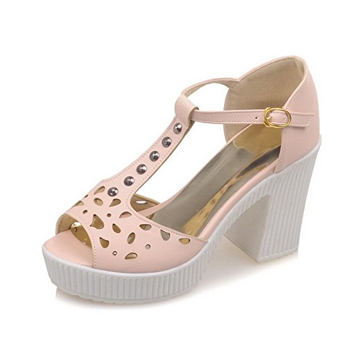 AgooLar Women's Peep Toe High Heels Solid Buckle Sandals Pink 1QO59YDf4O