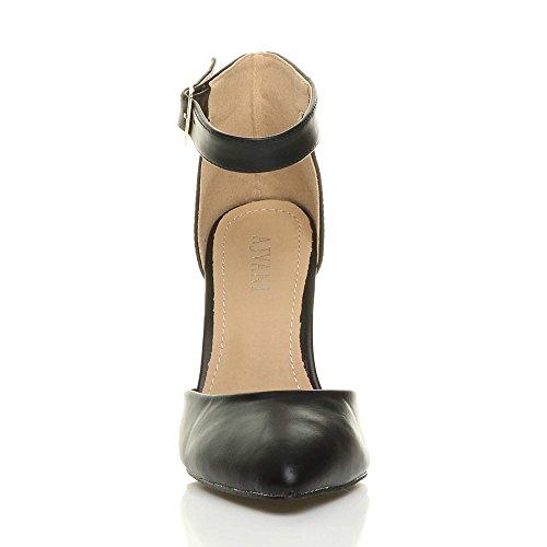 puntiagudo negro talón alto mujer tamaño correa de tobillo bloque del corte hebilla para sandalias mate bombas Ajvani puño zapatos AOfqTwx