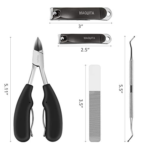 MAQUITA Nail Toenail Clippers Set and 5Pcs Nail Pedicure kit with Stainless Steel Professinal Sharp Manicure Set Fingernail Clippers for Men Women Safety Home Tools