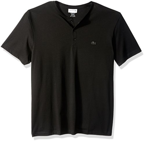 Lacoste Men's Short Sleeve Henley Jersey Pima T-Shirt, Black, Small
