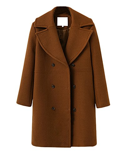 Donna Giacca Cappotto Giacche Parka Outwear Soprabito Slim Fit Trench Giacca Jacket Windbreaker Marrone
